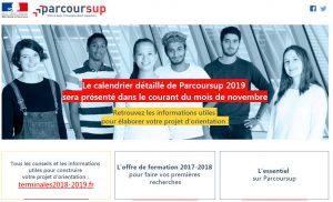 Copie d'écran du site web Parcours Sup