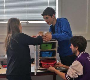des étudiants mènent une expérience avec des bacs de couleur