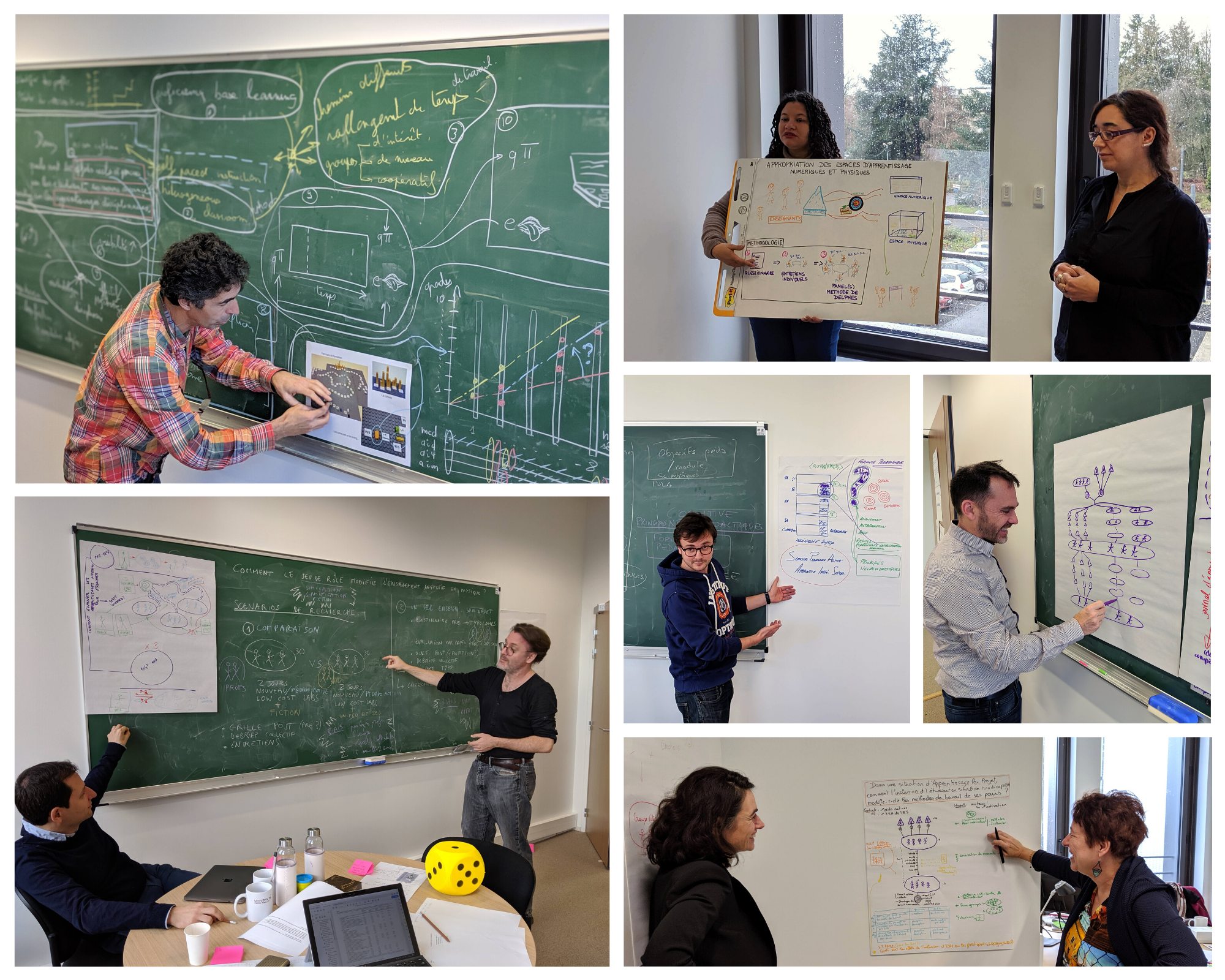 Differents groupes d'enseignants qui travaillent sur leur thématique au cours de la chaire